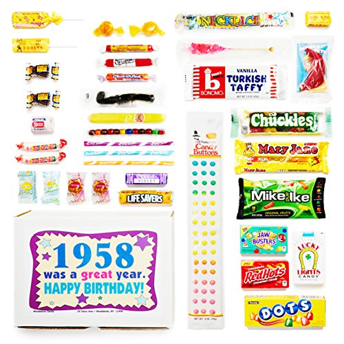 Woodstock Candy 1958 60th Birthday Gift Box Nostalgic Retro Mix From Childhood For 60