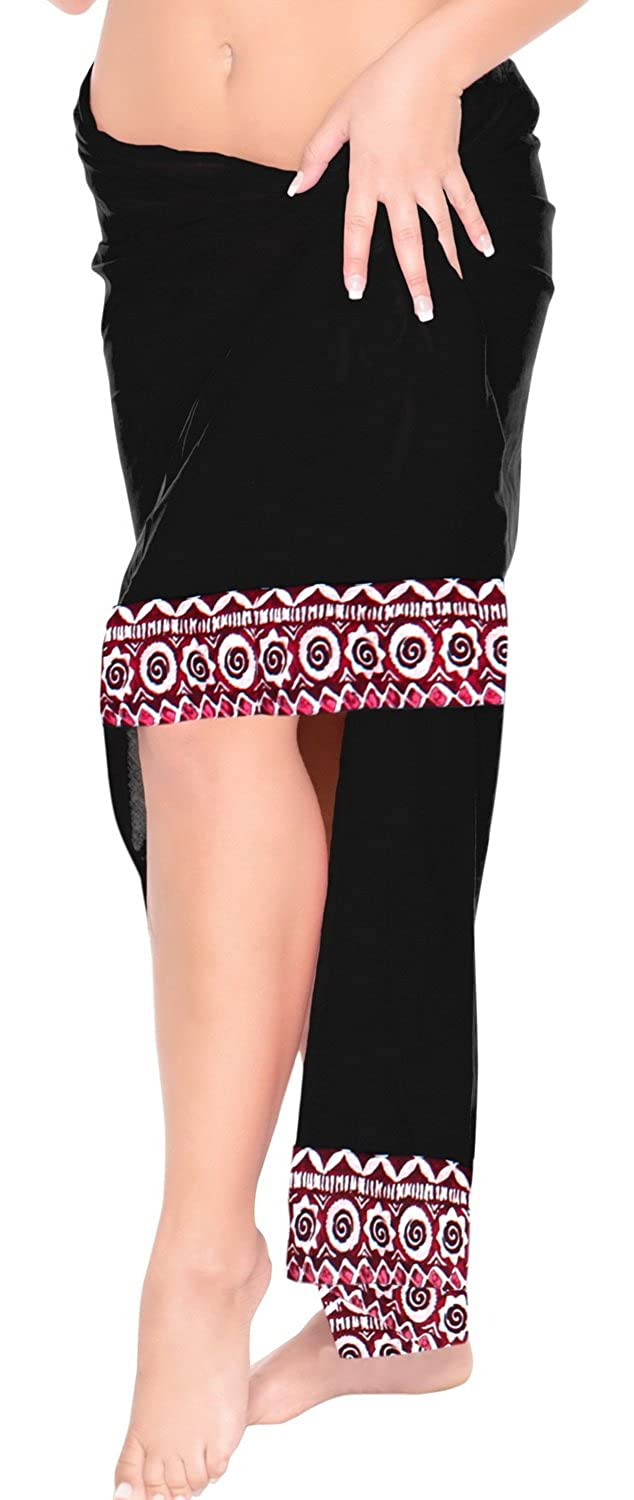 LA LEELA Womens Plus Size Sarong Swimsuit Cover Up Beach Wrap Skirt Embroidered