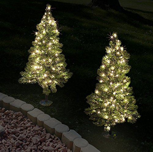 Set of 4, Pre-Lit 2' Tall Artificial Pathway Christmas Trees for Indoor/Outdoor use. Includes 50 warm white led lights, steel ground stake by Kringle Bros