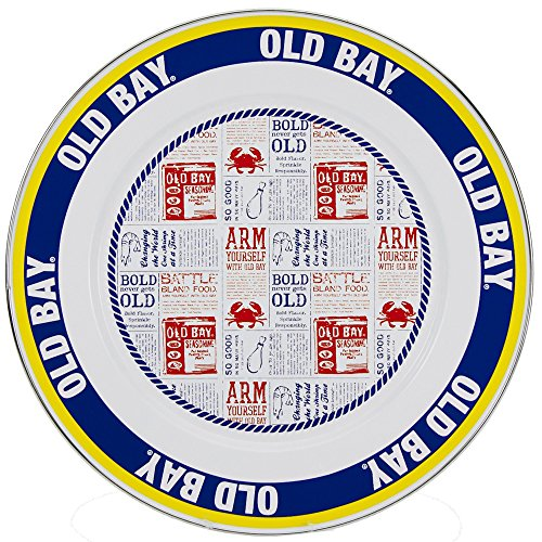 Enamelware - Old Bay Pattern - 12.5 Inch Charger Plate by Golden Rabbit