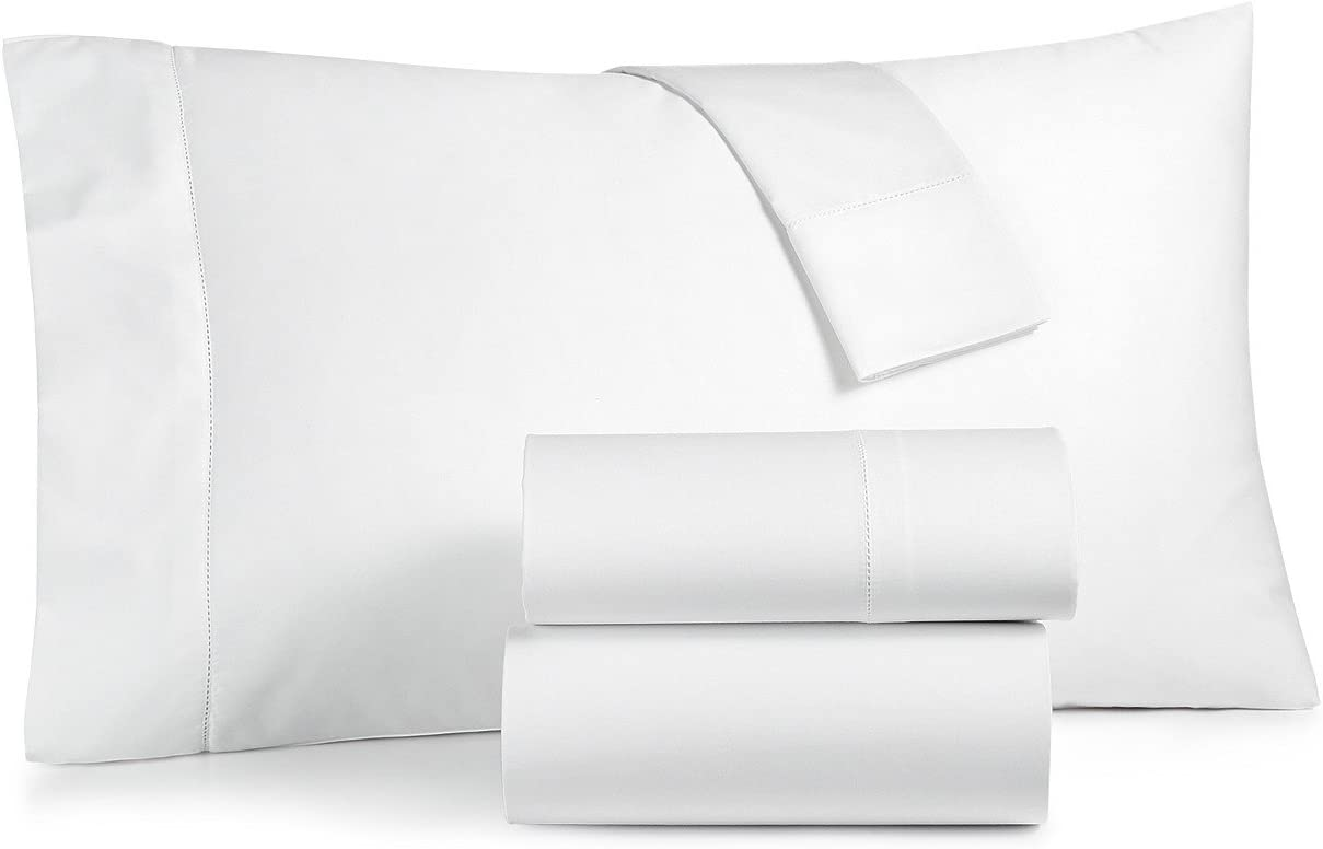 Charter Club Damask Solid 550 Thread Count Supima Cotton 4 Piece California King Sheet Set White