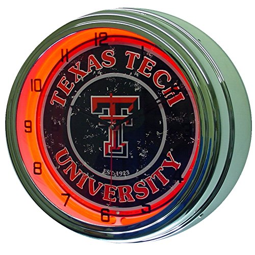 Texas Tech University Logo Sign Neon Lighted Wall Clock Chrome Red
