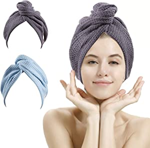 2 Pack Waffle Hair Towel,Hair Towel Wrap,Hair Drying Towel,Super Absorbent and Lightweight Hair Turban,Hair Towel for Women to Dry Hair Quickly(Lake Blue & Gray)