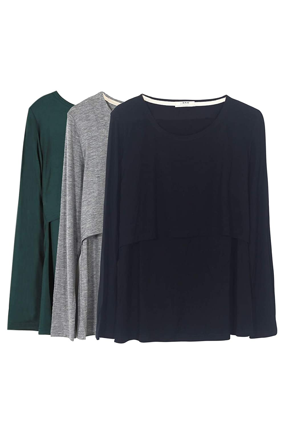 Smallshow SHIRT レディース B0791V93N8 L|Green/Black/Grey Green/Black/Grey L