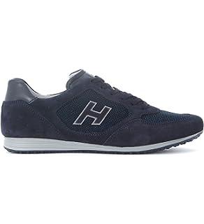 4466Q sneaker uomo HOGAN OLYMPIA SLASH H FLOCK blu/marrone shoe men [5] SIiw0