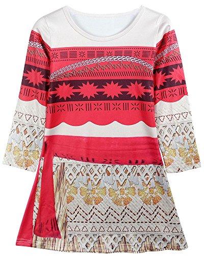 Cheap Little Girl Dresses (Moana Dress Little Girls Adventure Clothes for Toddler Kids Party Princess Skirt (6 (5-6Years), Medium Long))