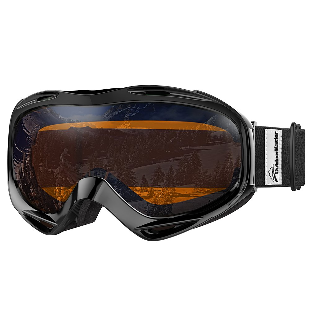 OutdoorMaster OTG Ski Goggles - Over Glasses Ski / Snowboard Goggles for Men, Women & Youth - 100% UV Protection (Black Frame + VLT 24% Orange Lens with REVO Silver) by OutdoorMaster