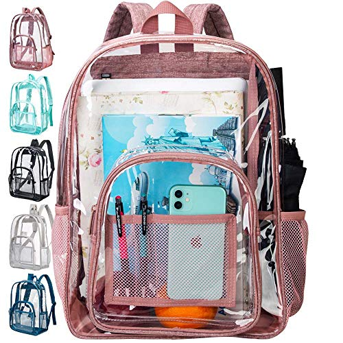 Clear Backpack, Heavy Duty Transparent Backpack, See Through Large Backpack for School- Pink