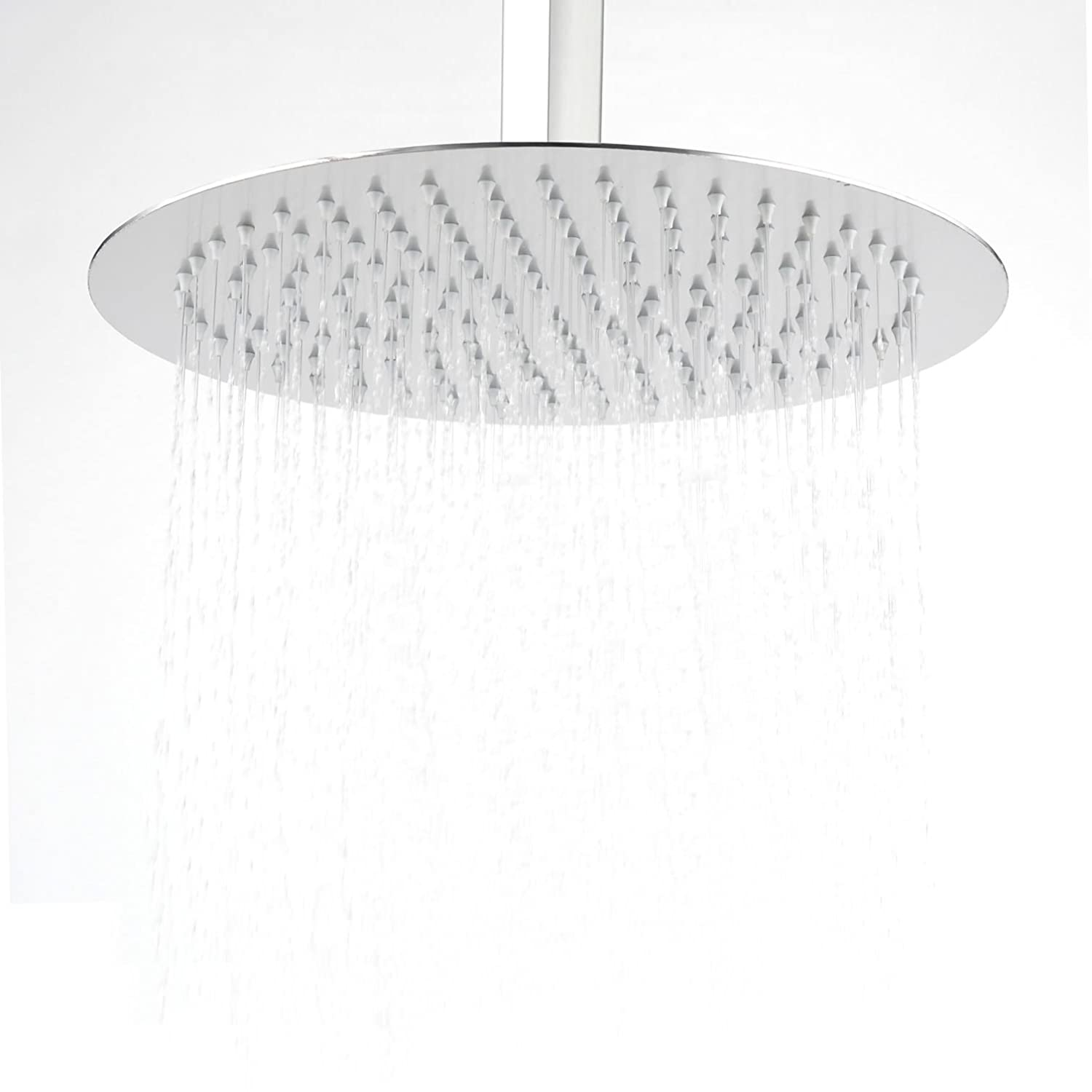 Hiendure 304-grade Stainless Steel 16-inch Solid Round Ultra Thin Rain Shower Head, Chrome Home Built