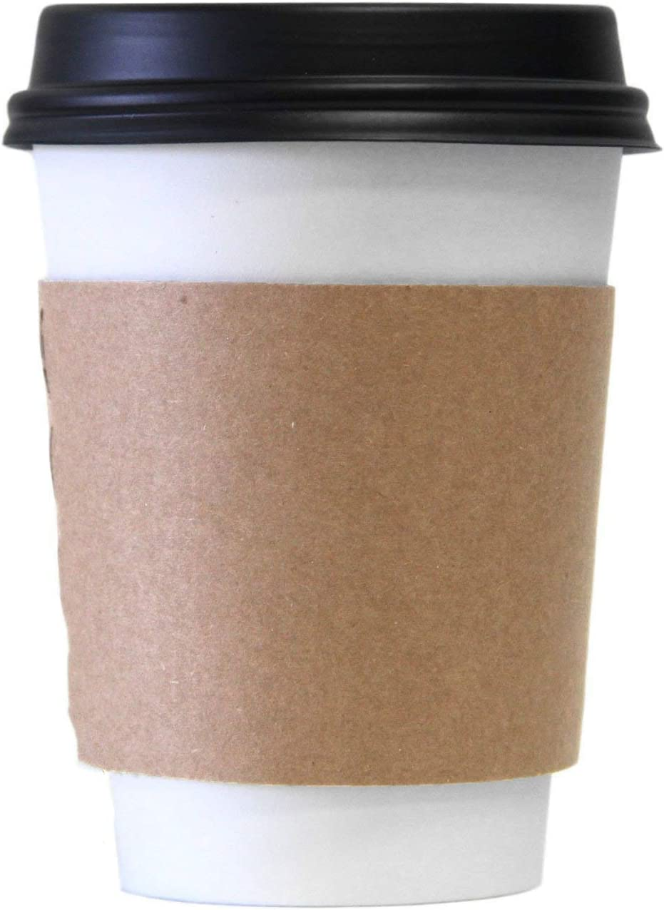 Extra Large 20oz White Paper Coffee Cups with Black Lids (100 Count) by EcoQuality Disposable Paper Coffee Cups Hot Drink, Tea, Coffee,