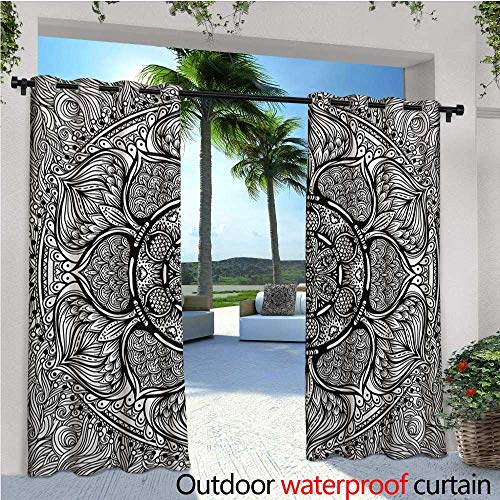 homehot Ethnic Exterior/Outside Curtains Mandala Inspired Ethnic Artwork Hand Drawn Ethnic Paisley Pattern Boho Native for Patio Light Block Heat Out Water Proof Drape W72 x L84 Black and White