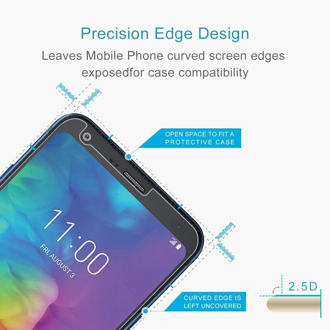 JIANGNIUS Screen Protector 100 PCS 0.26mm 9H 2.5D Tempered Glass Film for LG Q7