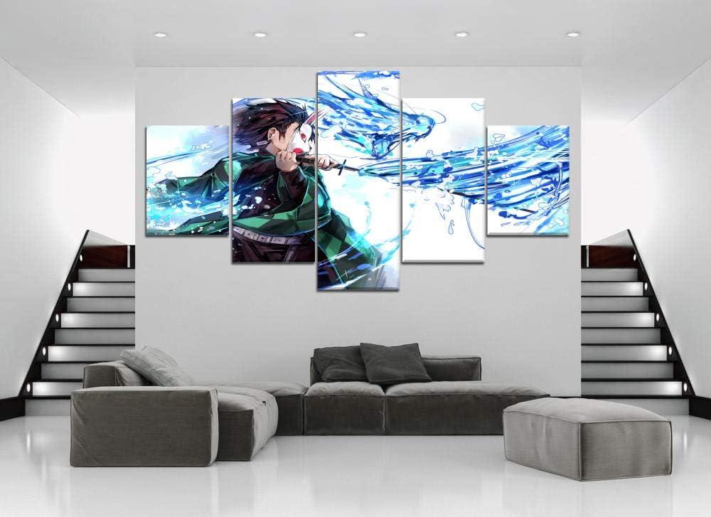 194Tdfc D/émon Slayer Kimetsu No Yaiba Anime Impression sur Toile 5 Parties Tableau sur Toile D/écoration Murale Tableau Pieces Salon Moderne Image Encadr/ée D/écoration De La Maison Murale HD 150 80Cm