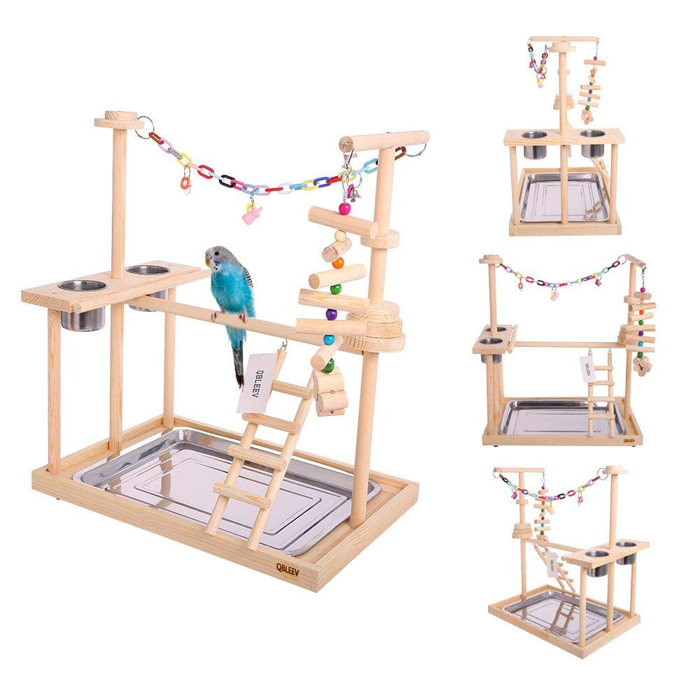 QBLEEV Parrot Wood Stand Perch Bird Playstand Playground Playgym Playpen Ladder with Toys Exercise Play (Include a Tray)(19''L13''W21''H)