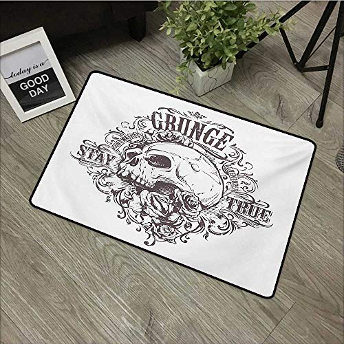 (Meeting room mat W31 x L47 INCH Grunge,Skull and Rose Art Vintage Floral Pattern Monochrome Tattoo Style Retro Theme Print,Black White Our bottom is non-slip and will not let the baby slip,Door Mat Ca)