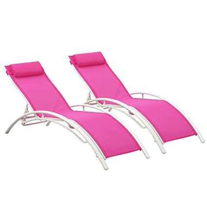 Astounding Outdoor Patio 2 Pack Lounge Chairs Adjustable Aluminum Chaise Lounges For All Weather Pink Squirreltailoven Fun Painted Chair Ideas Images Squirreltailovenorg