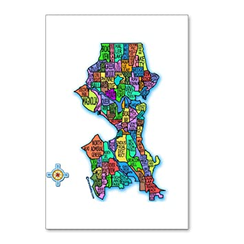 CafePress Brilliant Colors Map Of Seattle Postcards Package - Package of map colors
