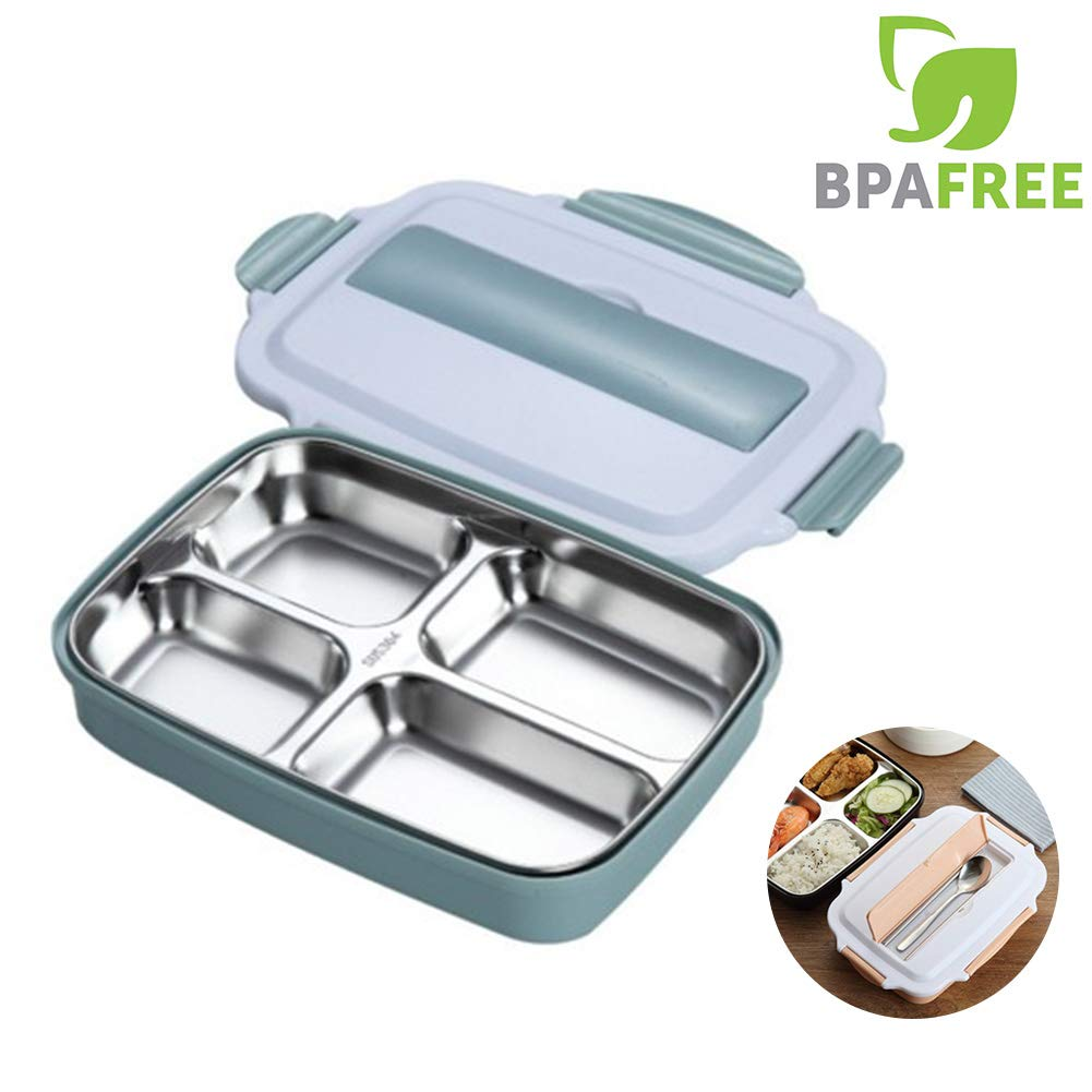 Bento Box for Adults,Eco Friendly, Leakproof Bento Lunch Box with Five Compartment Wheat Fiber Bento Box for Kids and Adults Microwave Safe (blue)