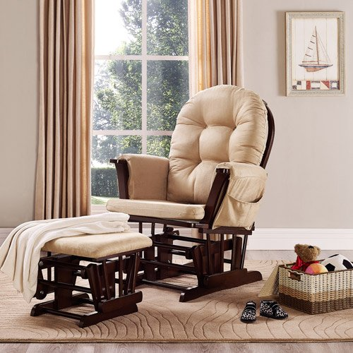 Baby-Relax-Harbour-Glider-Rocker-and-Ottoman-Set-Beige-Nursery-Furniture-Living-Room-Furnitures-Gliding-Ottomans-Microfiber-Upholstery-Button-tufted-Backrest-and-Wide-Seating-with-Overstuffed-Cushions