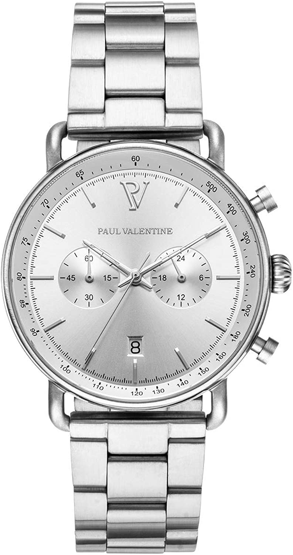 PAUL VALENTINE ® Reloj de Hombre con Malla de Acero Inoxidable, Cristal de Zafiro, Reloj Noble para Hombre con Mecanismo de Cuarzo japonés, A Prueba de Salpicaduras