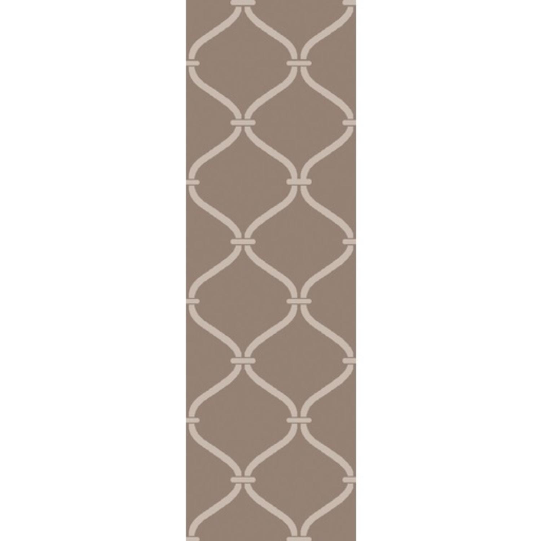 2.5' x 8' Egyptian Windows Mocha Brown and Pebble Gray Area Throw Rug Runner
