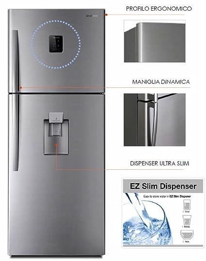Refrigerador Daewoo con doble puerta de acero inoxidable con dispensador de agua - Capacidad de 475