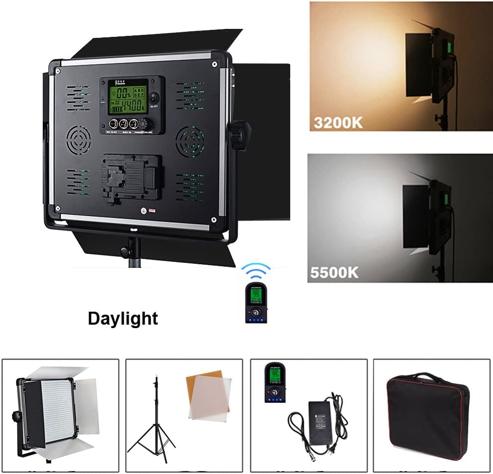 Yidobol E-1080 Daylight 1007 LED Light Panel Kit with 2.8m Tripod, Continuous Lighting DMX512 for Photo Studio Video Film Photography, 2.4G Wireless Remote Control, Barndoors, 85W 7000 Lumen
