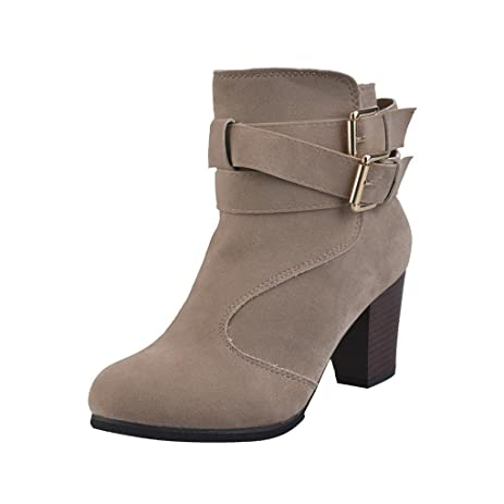 Women Belt Buckle Faux Boots Low Ankle Boots High Block Heels Martin Boots Shoes (US:6.5 Beige)