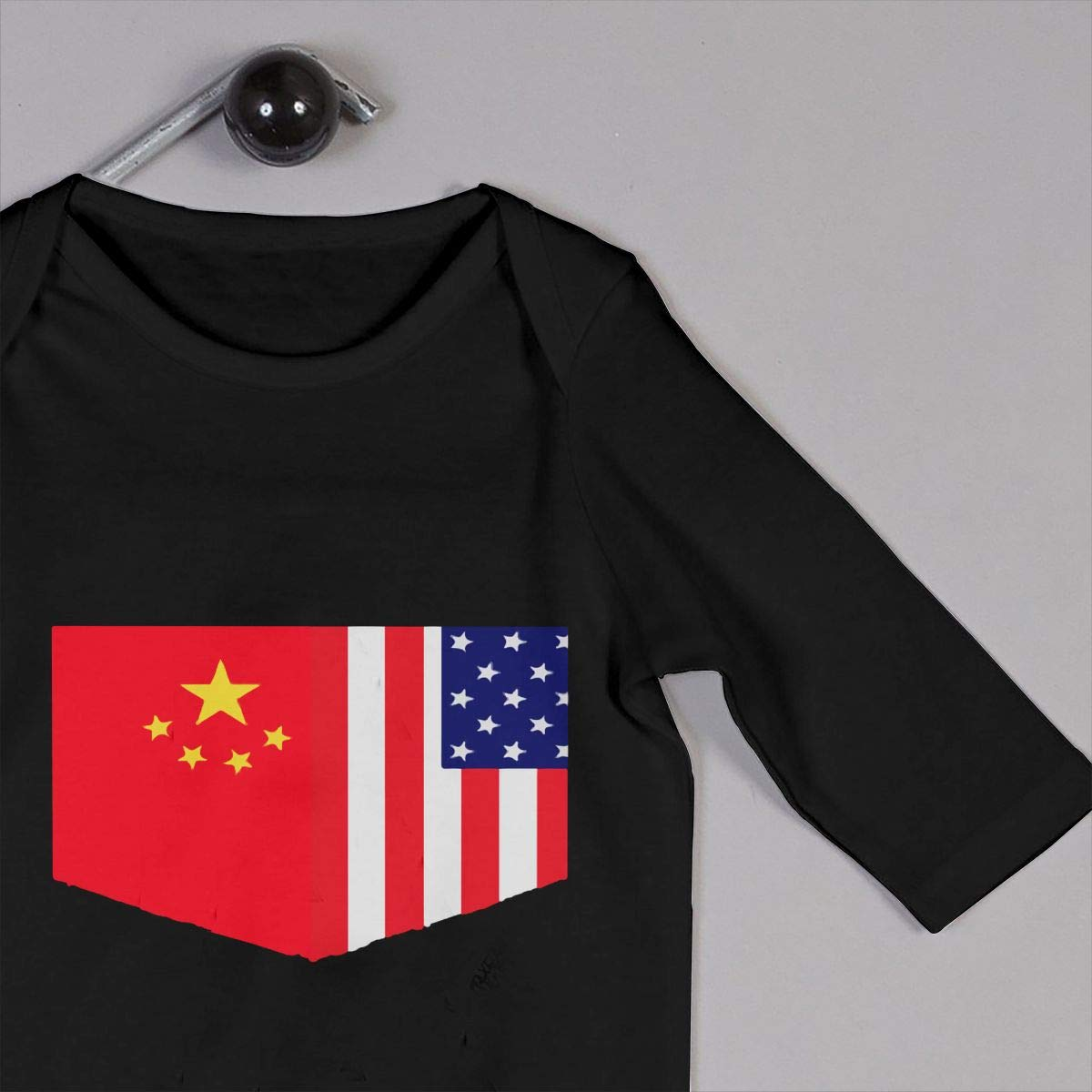 Db84UR@5p Infant Baby Girls Boys Long Sleeve Jumpsuit Comfortable Chinese Flag and American Flag Cotton Sleepwear