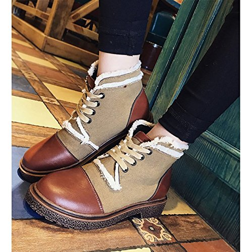 Shoes Heel Block Mid Round HSXZ Brown Fall Women's Boots Boots Comfort Null Casual PU ZHZNVX Toe Fashion Winter Calf Boots Brown for x7ZZPw