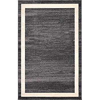 Unique Loom Loft Collection Contemporary Transitional Black Home Décor Area Rug (5 x 8)