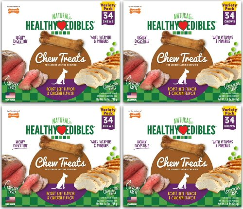 Nylabone Healthy Edibles Roast Beef/Chicken Variety Value Pack, Petite 136ct (4x34ct)