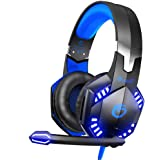 VersionTECH. G2000 [Updated] Stereo Gaming Headset for Xbox One PS4 PC, Surround Sound Over-Ear Headphones with 50mm Drive Unit, Noise Cancelling Mic, LED Lights for Laptop, Mac, Nintendo Switch Game
