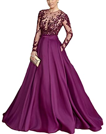 DressTailor Womens Grape Sequins Beaded Prom Dresses Lace Long Sleeves Evening Gowns Celebrity Dresses at Amazon Womens Clothing store: