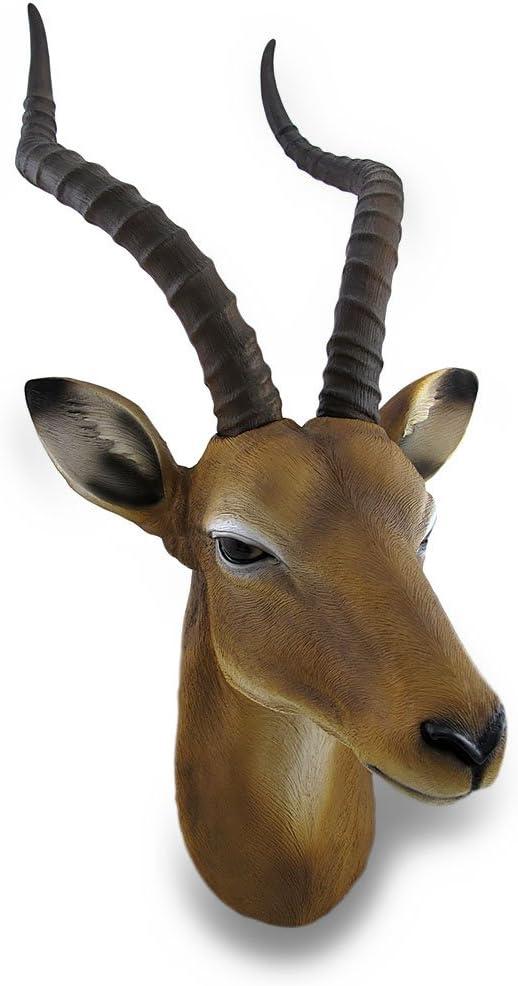 Zeckos African Antelope Head Bust Hanging Wall Sculpture