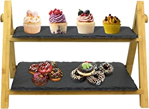 Homevibes 2-Tier Slate Cake Stand ,Cheese Board, Antipasti Platter ,Tiered Serving Display Stand,Rustic Serving Platter ,Slate Wedding Cake Stand