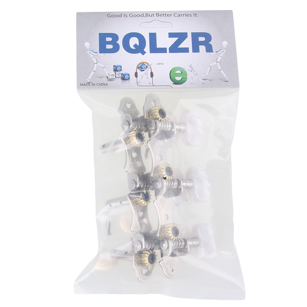 BQLZR Silver Zinc Alloy Double Hole 35MM Machine Heads Tuning Pegs (L&R) with Screws for Classical Guitar Pack of 2 N21817
