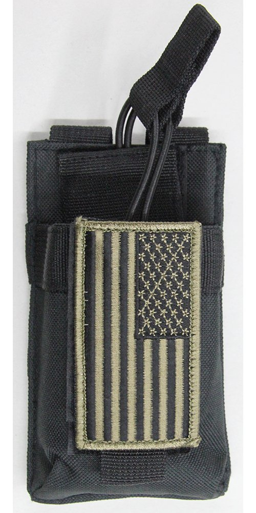m1surplus MOLLE Style Black Radio Tactical Pouch + PATRIOT FLAG Moral Patch Fits Wouxon Baofeng UV5R UV5RA FRS GMRS Puxing PX-777 PX-888 PX-820 PX-UV973 UV-5X3 BTECH MURS-V1 GMRS-V1 HT Ham Radios