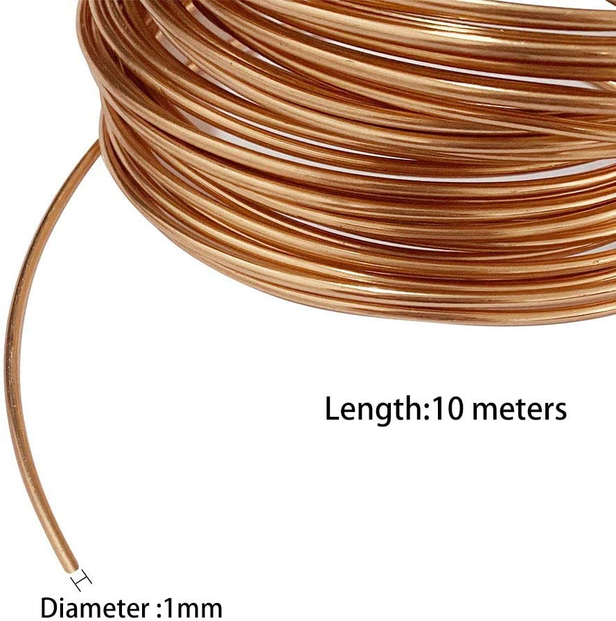 JKGHK Copper Wire Bare Conductive Copper Wire Physical Science Experiments and Jewelry Making 10m 1mm Diameter