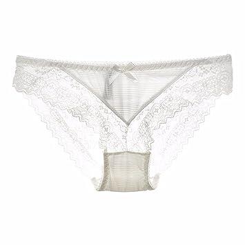 WJIANLL Ropa interior ropa interior de color sólido punto de vista femenino de encaje de seda