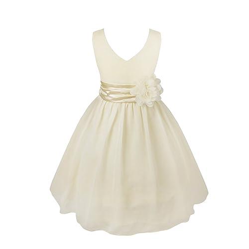 iEFiEL Kids Flower Girl Dress V-Neck Chiffon Wedding Bridesmaid Dress Prom Party Ball Gown