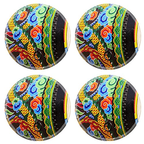 - Liili Round Coasters Non-Slip Natural Rubber Desk Pads IMAGE ID: 17312163 A detailed view of the ornamental paint patterns on a ceremonial drum seen in the Gyeong