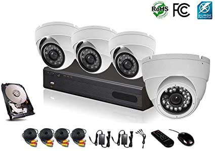 HDView 6CH Hybrid: 4 Channel Security DVR and 1 Channel ONVIF NVR, with 1TB  Hard Drive, 1080P HD Megapixel Security Camera Surge-Protection DVR Kit, 4