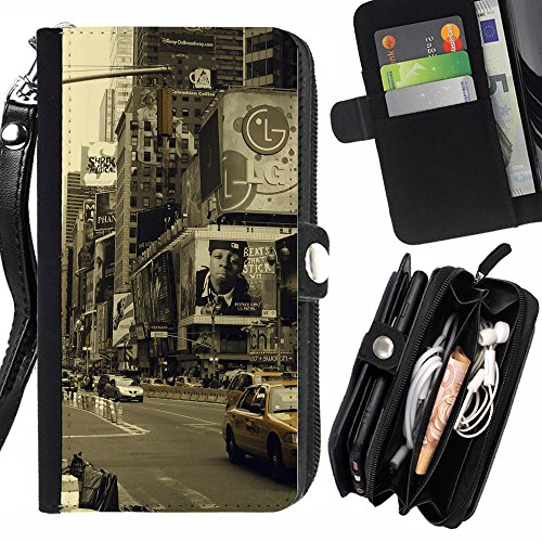 Graphic4You New York City Times Square Postcard Design Zipper Wallet With Strap Card Holder Case Cover for Apple iPhone 5C