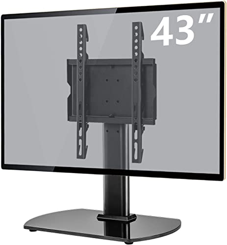 Universal Table Top TV Stand Base with 6 Level Height Adjustable and Swivel Mount Bracket for 20-43 Inch Plasma LCD Led Flat or Curved Screen TVs, Vesa Patterns Up to 300mm x 200mm