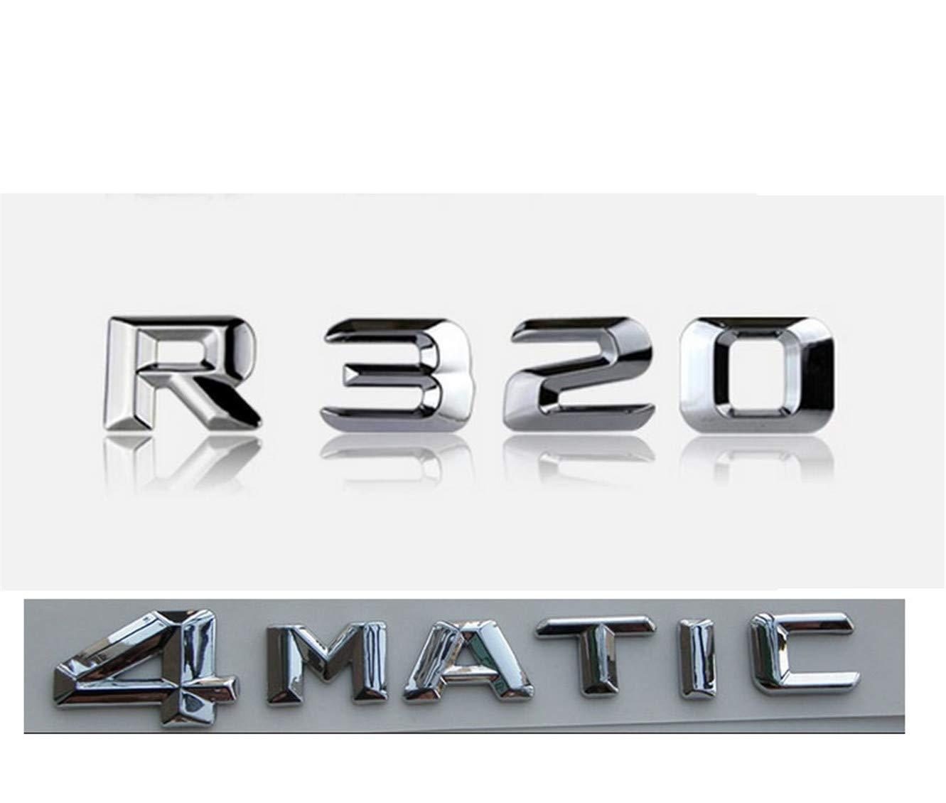 CXYYJGY Chrome R 320 4 Matic Coffre arri/ère Lettres Motts Badge Embl/ème lettre autocollant R classe R320 4matic
