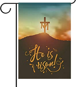 Christian Easter Cross Garden Yard Flag Banner House Home Decor 28 x 40 inch, He is Risen Large Decorative Double Sided Welcome Flags for Holiday Wedding Party Outdoor Outside