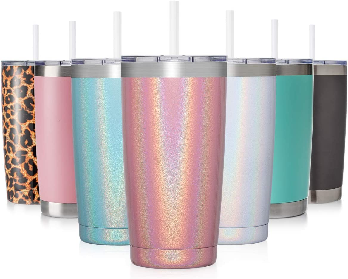 Civago 20oz Insulated Stainless Steel Tumbler, Coffee Tumbler with Lid and Straw, Double Wall Vacuum Travel Coffee Mug, Powder Coated Tumbler Cup (Purple Shimmer,1)