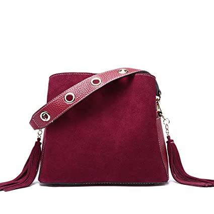 2bbc1bdfbdb Image Unavailable. Image not available for. Color: Lxf20 Women's Bag PU  Bucket Bag Tassel European And American Fashion One Shoulder Slung Handbag  Lady