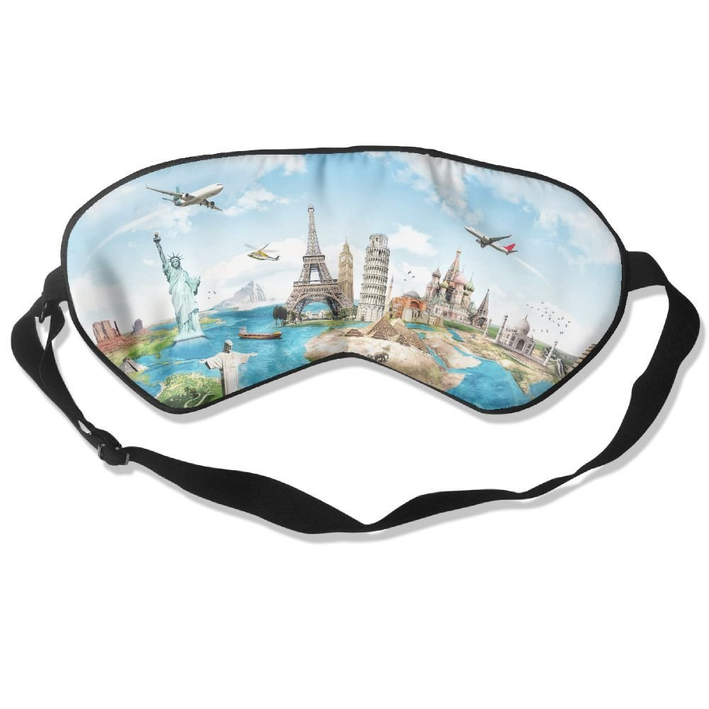 Sleep Mask Travel Map Eye Cover Blackout Eye Masks,Soothing Puffy Eyes,Dark Circles,Stress,Breathable Blindfold For Women Men by MB32